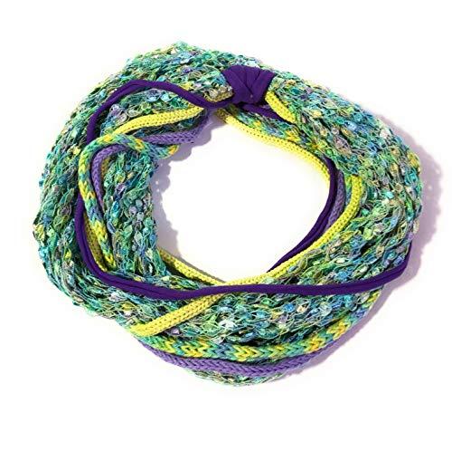 Strickbandschal ZARTE WASSER, blau, gelb, türkis, grün, lila, Schal, Strickschal, handgemacht
