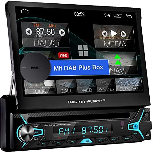 Tristan Auron 1 DIN Android Autoradio + DAB Plus Box- 7\'\' ausfahrbares Display CD DVD Laufwerk GPS Navi Bluetooth Freisprecheinrichtung (BT1D7022A)