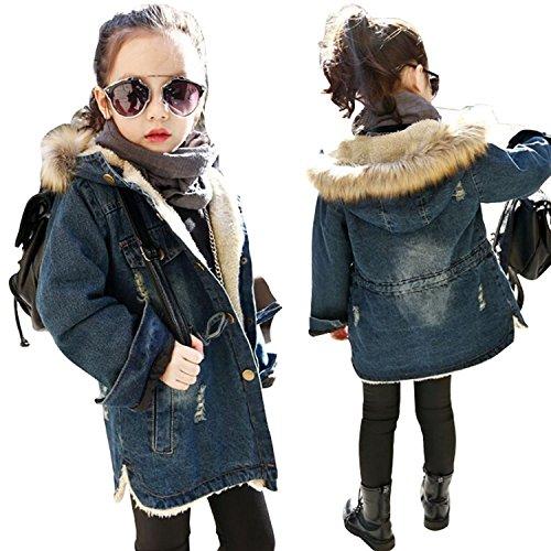 Kids Little Girl Winter Hooded Fur Collar Thick Denim Coat Jacket Outwear (7-8Years, Blue)