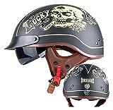 Cascos Half Helmet Motocicleta Retro Half Casco Abre Cascos Faciales Valence Harley Verano Half Casco Dot Certificado Crucero Chopper Fast Servicio Hath Sopor (Color : K, Size : 57~58cm)