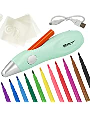 Westcott Juego de aerógrafo eléctrico para niños, con 12 rotuladores y 19 Plantillas para Pintar y Dibujar, con batería y Cable USB, Color Verde, E-16800 00