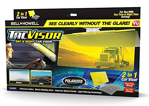 Bell + Howell TACVISOR for Day and Night, Anti-Glare Car Visor, UV-Filtering/Protection, Polarized Vehicle Sunshade For Clearer Vision and Safe Driving As Seen On TV