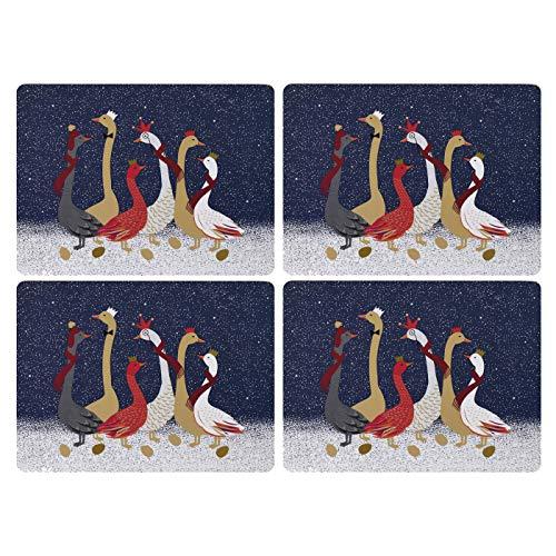 Portmeirion Home & Gifts X0010548946 Lot de Sets de Table Motif oie Bleu/doré S/4 (s)