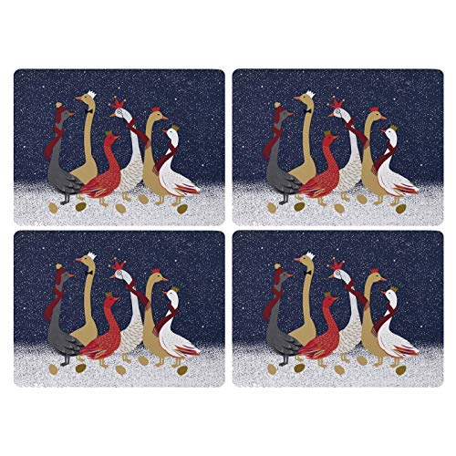 Portmeirion Home & Gifts X0010548946 Lot de 4 sets de table Bleu/doré