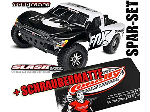 Traxxas 58076-4 Slash VXL Pro 2WD Brushless TSM Fox Edition + Schraubermatte + mobo-Racing Sticker