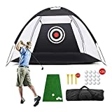 Pomatoy Golf Net 10 X 7 for Backyard Driving with Hitting Grass Mat, High Golf Practice Net, 16 Golf Balls, 20 Golf Tees, in 1 Carry Bag for Adults Indoor and Outdoor
