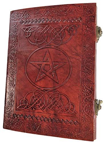 Kooly Zen Notizblock, Tagebuch, Buch, echtes Leder, Vintage, Pentagramm, Pentagramm, 2 Verschlüsse, 18 cm x 25 cm, 240 Seiten, Premiumpapier