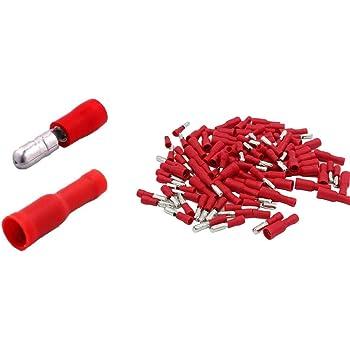 Rundstecker Steckverbinder Rundsteckhülsen Kabelschuh Isoliert 0,5-1,5mm² Rot