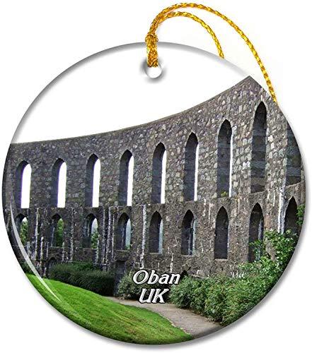 Reino Unido Inglaterra McCaig's Tower Oban Adornos Adorno navideño Redondo de cerámica de 2,8 Pulgadas Pandent para Familiares y Amigos