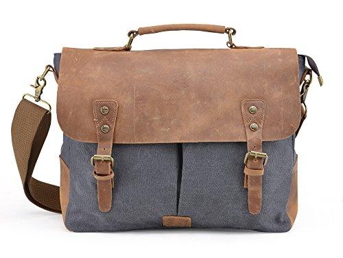 Gootium 21108GRY-L Vintage Canvas Tasche Messengerbag für Damen/Herren, 39cm, 12,5l, grau