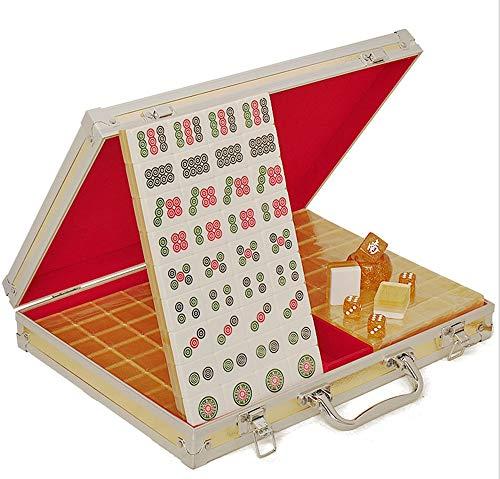 DING Acryl Mahjong Edle Gold Kreative Familienaktivitäten Unterhaltung Freizeit Lernspielzeug Aluminium Mahjong Aufbewahrungsbox