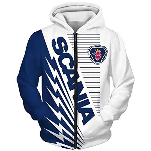 Cronell Story Herren Winter Außen Digitaldruck Scania Logo Jacke Baseball Uniform Fluganzug (1,XL)