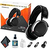 SteelSeries Arctis 7 - Lossless Wireless Gaming Headset with DTS Headphone:X v2.0 Surround - for PC and Playstation 4 - Black - with Headphone Cleaner + MicroFibercloth + USB Power Cube and More