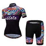 Uriah Women's Cycling Jersey Shorts Sets Short Sleeve Reflective Retro Paint Size L(CN)