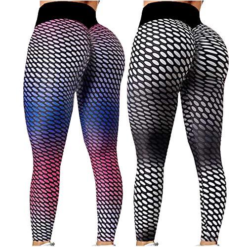 NAQUSHA Pantalones de yoga suaves de panal de abeja de 2 piezas para mujer, de Hip Hop, absorbentes y transpirables, ajustados, de cintura alta, levantamiento de glúteos