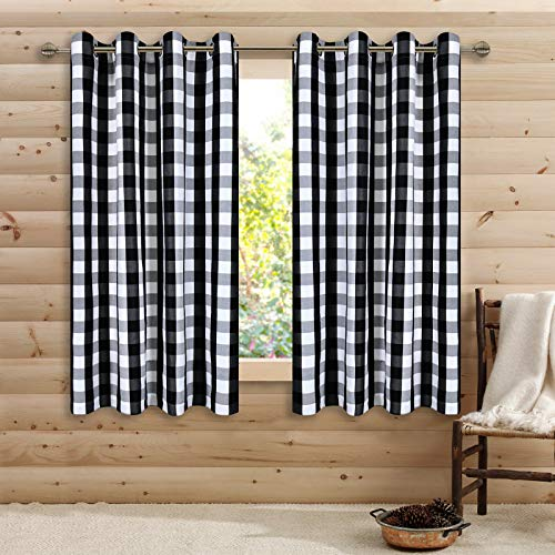 Black and White Buffalo Checker Plaid Curtains for Farmhouse Bedroom Gingham Light Filtering Window Drapes Grommet Curtains for Living Room Set of 2 Panels Each is 52Wx63L