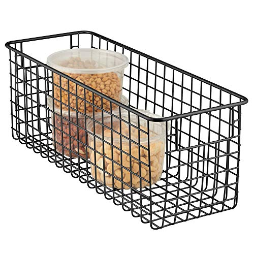 "mDesign Narrow Farmhouse Decor Metal Wire Food Storage Organizer Bin Basket with Handles for Kitchen Cabinets, Pantry, Bathroom, Laundry Room, Closets, Garage - 16"" x 6"" x 6"" - Matte Black"