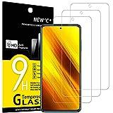 new'c 3 pezzi, vetro temperato per xiaomi poco x3 / poco x3 pro/poco x3 nfc, pellicola prottetiva anti graffio, anti-impronte, senza bolle, durezza 9h, 0,33mm ultra trasparente, ultra resistente