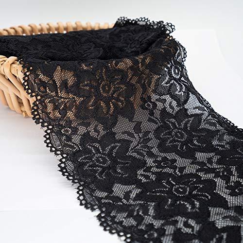 Black Floral Stretchy Lace Elastic Trim Fabric 5 Yard