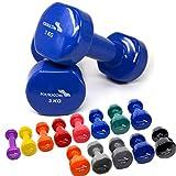 FOURSCOM 2er Set 2X 5kg Vinyl Hanteln Kurzhanteln Gymnastikhanteln, 13 Verschiedene Gewichte und...