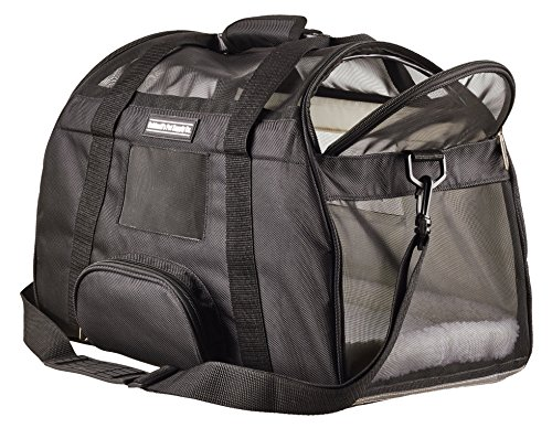 Airline Approved/Travel Transport Pet Carrier/ 2 Soft Fleece Pads/Washable/ 2018 Newly Designed/Pet Purse/Travel Tote/Kennel Cab/Foldable/Portable Pet Crate/Safety/ Shoulder Suitcase Straps