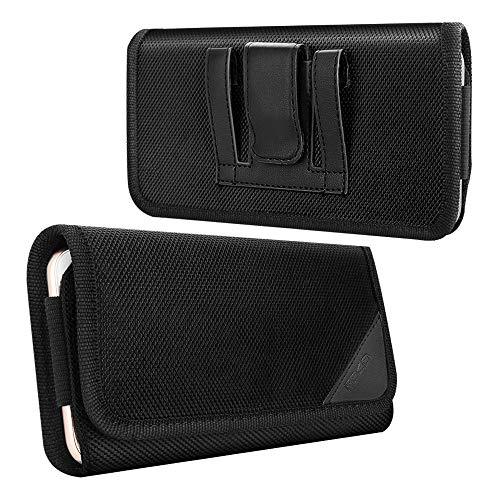MoKo Funda de Teléfono de con Clip de Cinturón, Bolsa de Nylon Compatible con iPhone 12 Mini/ 12/12 Pro/SE, Galaxy Note 10/S10e/S10/S10 Plus, iPhone 11 Pro/11/11 Pro MAX/XS/XS MAX/XR - Negro