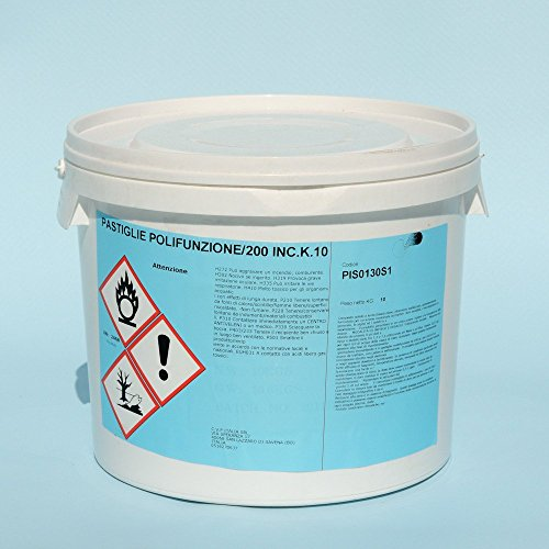 cubex professional Multifunzione Cloro pastiglie 200 gr Pulizia Acqua Piscina alghicida flocculante kg 10
