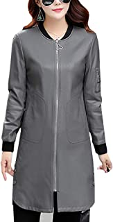 DISSA P7053 Women Faux Leather Long Overcoat Slim Coat Leather Jacket