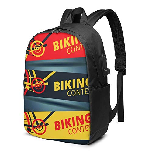 Laptop Rucksack Business Rucksack für 17 Zoll Laptop, Wettbewerb Radfahren Radfahren Rennrad Schulrucksack Mit USB Port für Arbeit Wandern Reisen Camping, für Herren Damen