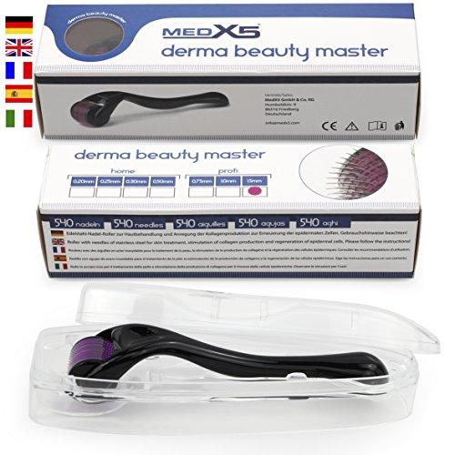 MedX5 (Upgrade 2020) 1,5mm Dermaroller, Medizinprodukt Klasse I mit CE-Kennzeichnung, 540 Nadeln aus Edelstahl, Derma Roller gegen tiefe Narben und schwere Cellulite
