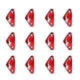 TRIWONDER Tensor Cuerda de Aleación de Aluminio Ajustador de Guying para Tienda de Camping Senderismo al Aire Libre Rojo (Forma de triángulo) - 12 pcs