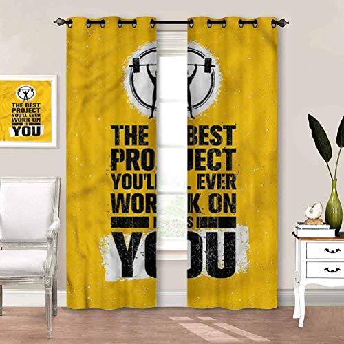 painting-home Rod Pocket Window Curtains Fitness, Best Project is You Room Darkening Blackout Curtains Keep The Room Cooler and Cut Down On Dust W55 x L39 Inch