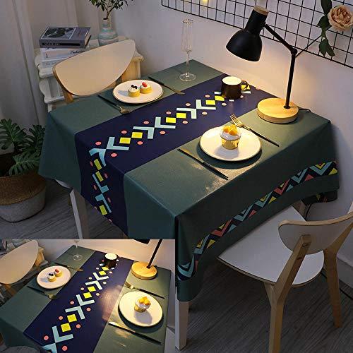ZXCN Mantel Mesa Rectangular Antimanchas Impermeable Cubremesa Resistente Al Desgaste Anti Escaldado para de Hogar Picnic del Hotel Tienda de Café Verde Oscuro 100×160cm