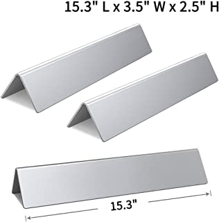 SHINESTAR 7635-15.3 inch Stainless Steel Grill Parts for Weber Spirit 210 E210 200 Flavorizer Bars Replacement with Front Control Knobs (Set of 3, SS-WB005)