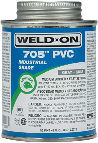 Weld-On 10098 705 Industrial Grade PVC Medium-Bodied High Strength Solvent Cement - Fast-Setting and Low-VOC, Gray, 1/2 Pint (8 fl oz)