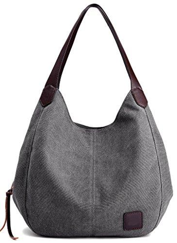 Canvas Tasche Damen Shopper Bag Handtasche Hobo Bag Grau