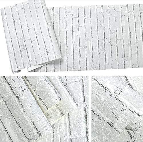 Impermeable Efecto de ladrillo Blanco Fondo de Pantalla de la Pared 3D Rollo de Papel Moderno Rústico Rústico Realista Textura de ladrillo Vinilo PVC Cubierta de Pared