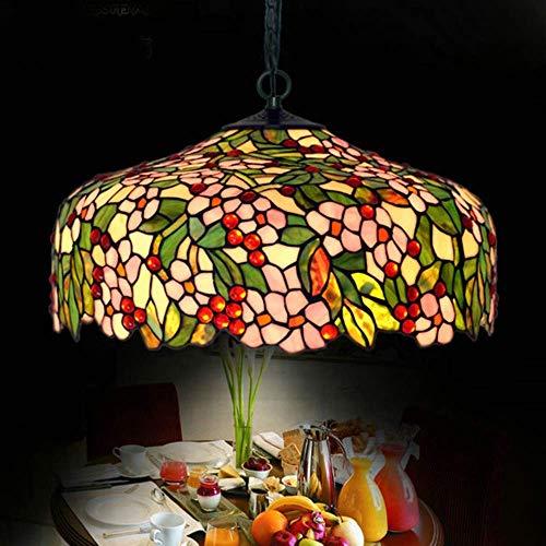 DALUXE Flor de Manzana Tiffany Chandelier de Vidrio Colgante Lámpara de la lámpara Interior Luz de Techo 51 * 32 cm
