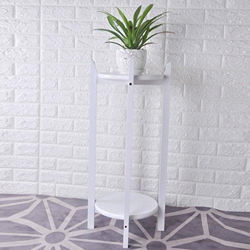 Support de fleur de bois solide salon européen intérieur plancher en bois original Bonsai fleur Rack Meaty, rouge brun/noyer clair/blanc, 70 * 36 cm (Color : White)