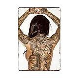 muzi928 Hojalata de alcantarilla Tatuaje Chica Letrero de Metal Placas de época Tienda de Tatuajes C...