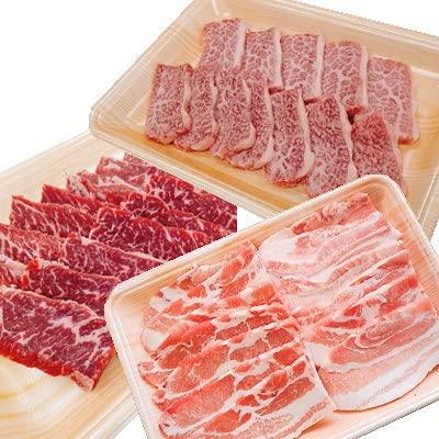 ご褒美 焼肉セット(飛騨牛カルビ・上ハラミ・みかわもち豚)各1パックずつの合計700gのセットです ユーエイエム