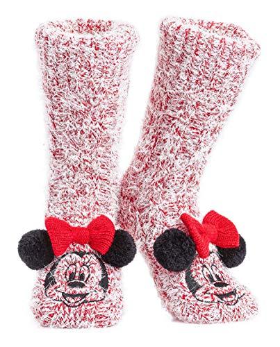 Disney Mickey Minnie Winter Socken, Kuschelsocken Damen Mädchen Warm Ultra-Bequeme Hausschuhsocken Antirutsch Flauschigem Sherpa-Futter, Tolles Geschenk für Mama (Minnie Maus)