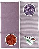 HERBALIND Cojín de 3 cámaras de semillas de lavanda – para vientre 60 x 20 cm en rayas/lila – 100% algodón OEKO TEX Cojín de colza con flores de lavanda secas adecuado para microondas