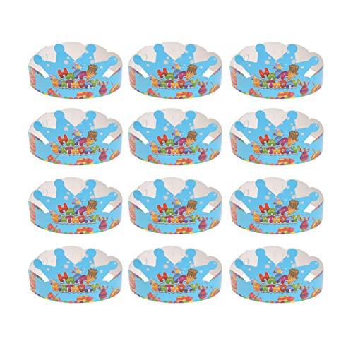 NUOBESTY Geburtstagskronen, Paperparty Mütze für Kinder Geburtstag, Baby-Dusche, Packung 25(blau)