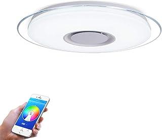 FIREBIRD Iluminación de techo de interior,Plafonnier Plafón LED Lámpara de Techo con Altavoz Bluetooth, RGB ajustable, APP Disponible (15.7 Inch 36W)