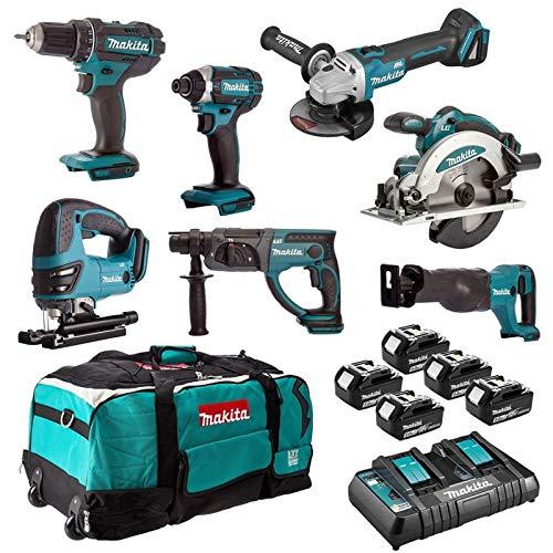 Ensemble de 7 machines DSS610 + DTD152 + DDF482 + DGA504 + DHR202 + DJR186 + DJV180 MAKITA DLX7013PT1