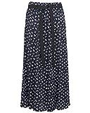 KK Fashion Lines Damen Sommerrock mit Blumenmuster, Viskose, elastischer Bund mit Taillengürtel, 88,9 cm Länge Gr. 36, Marineblau geblümt 1