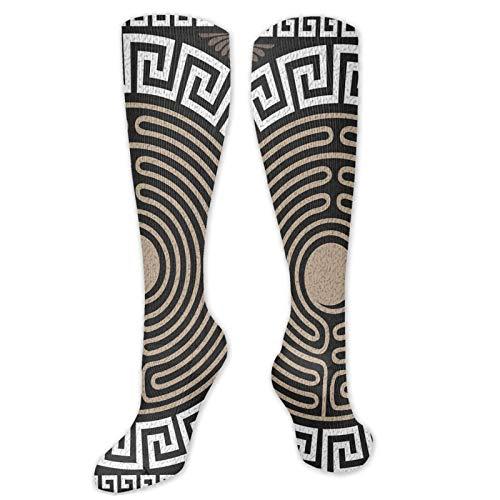 JONINOT Manga de compresin de rodilla de 60 cm, traste griego y onda atltica sobre fondo oscuro Remolinos retro antiguos, medias deportivas altas