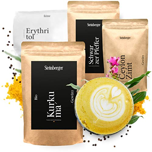 Kurkuma Latte Set über 100 Portionen | Mit Kurkuma, Kokosöl, Schwarzer Pfeffer, Zimt, Erythritol | Großpackung (2325g)