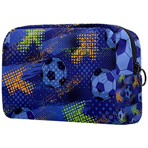 AITAI Bolsa de maquillaje grande bolsa de viaje cosmético organizador de graffiti fútbol color azul flecha